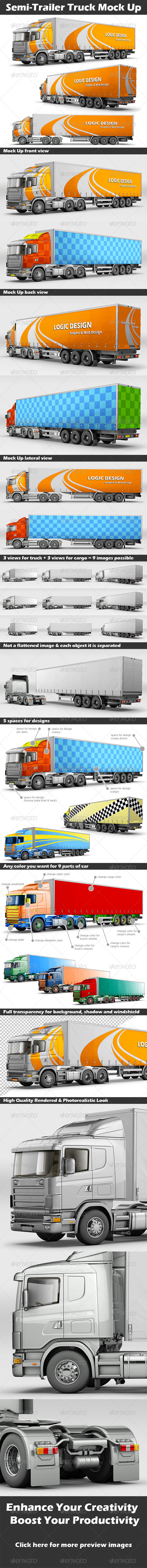 GraphicRiver Semi-Trailer Truck Mock Up 6120307