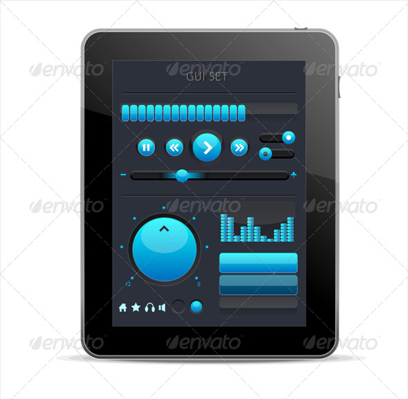 GraphicRiver Blue GUI Elements for Tablet 6120765