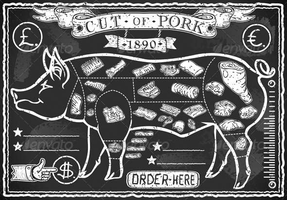 GraphicRiver Vintage Blackboard Cut of Pork 6120783