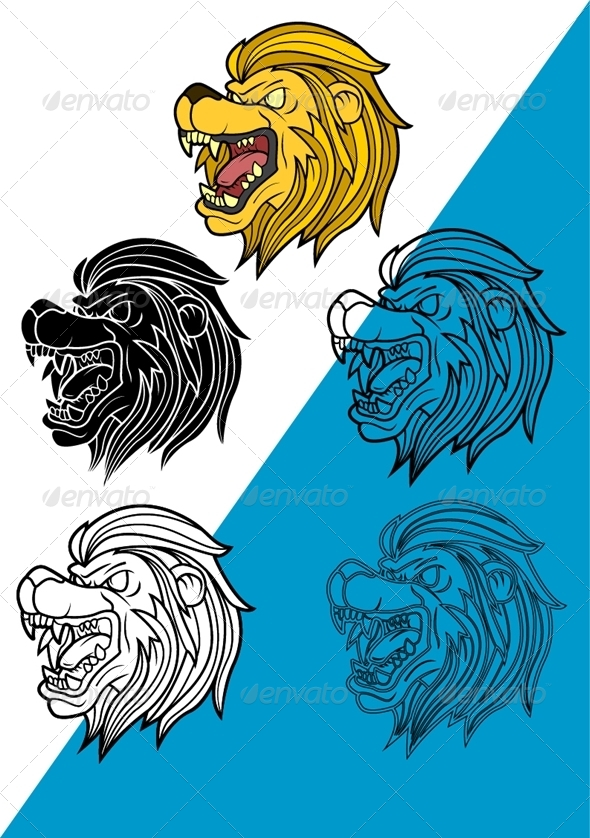 GraphicRiver Lion Head Set Vector 6120917