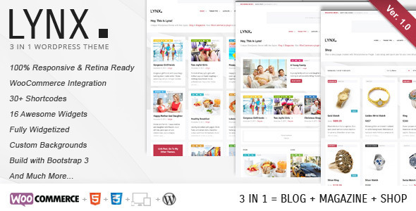 ThemeForest Lynx 3 in 1 Retina Responsive Wordpress Theme 6121177
