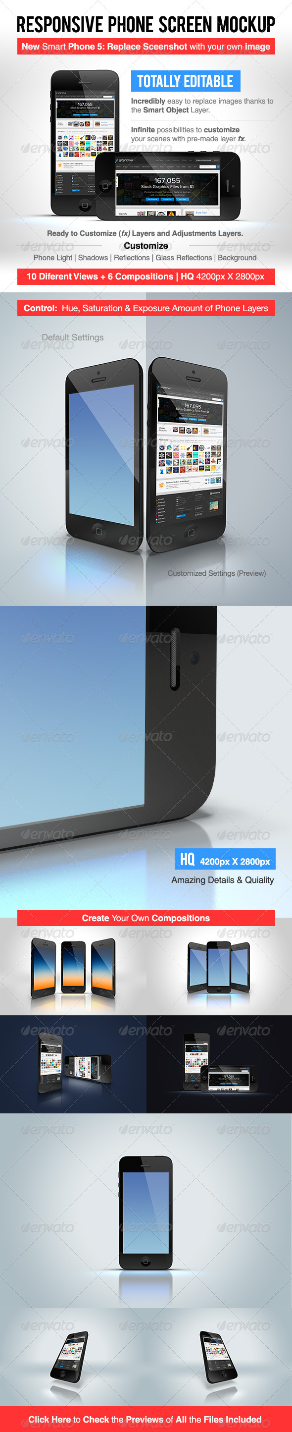 GraphicRiver Responsive Phone Screen Mockup 6079477