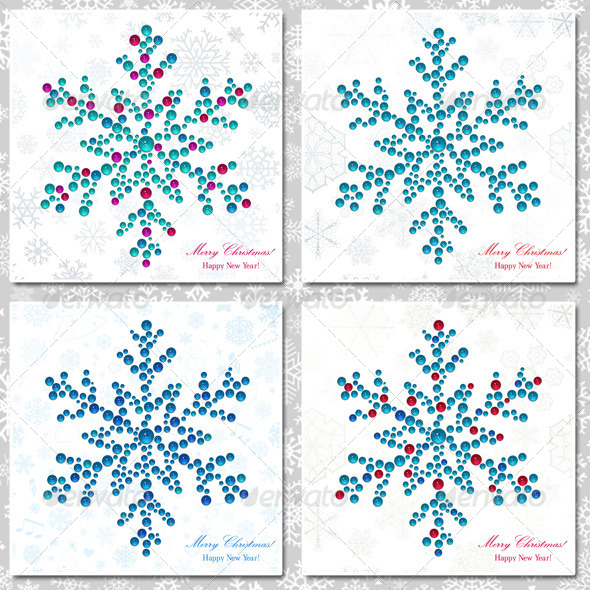 GraphicRiver Snowflakes Made of Beads 6122193