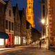 Bruges street in night, Belgium - PhotoDune Item for Sale