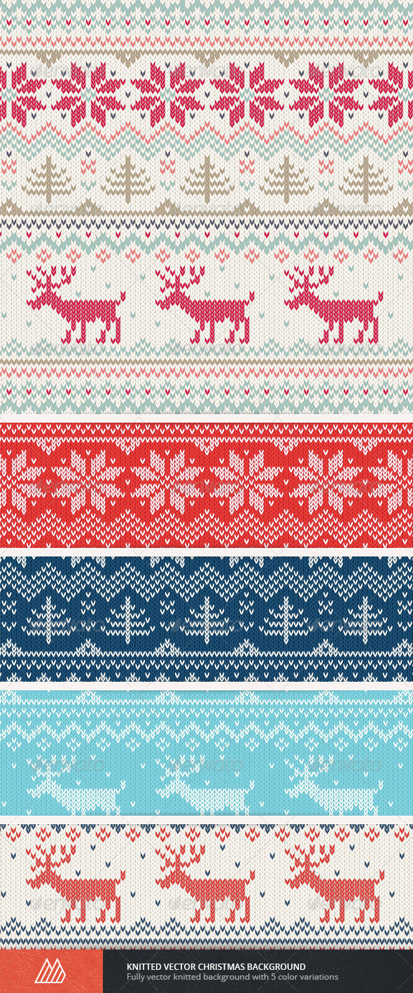 GraphicRiver Knitted Vector Christmas Background 6125524