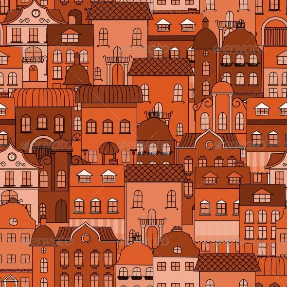 GraphicRiver Seamless Pattern with Old Town 6126643