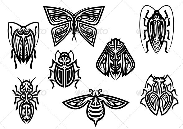 GraphicRiver Insect Tattoos in Tribal Style 6126964