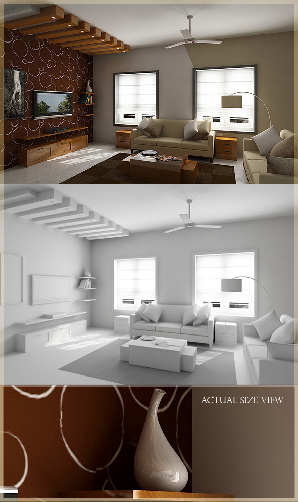 3DOcean Realistic Living Room model Rendered in Vray 588118