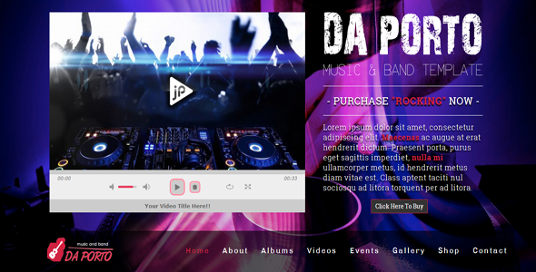 Da Porto - One Page Music & Band Template - Music and Bands Entertainment