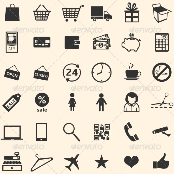 GraphicRiver Vector Set of 36 Shopping Icons 6131487