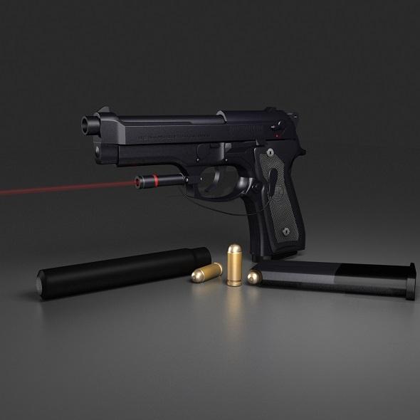 3DOcean Black Beretta M9 6132362