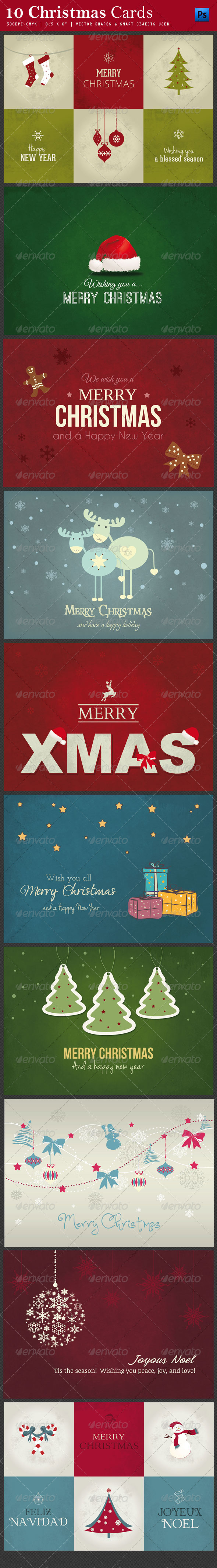 GraphicRiver 10 Christmas Cards PSD 6131761