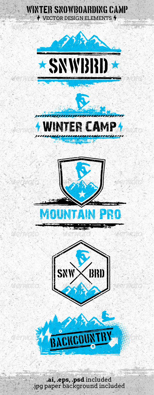 Winter Extreme Snowboarding Camp Vector  - Sports/Activity Conceptual