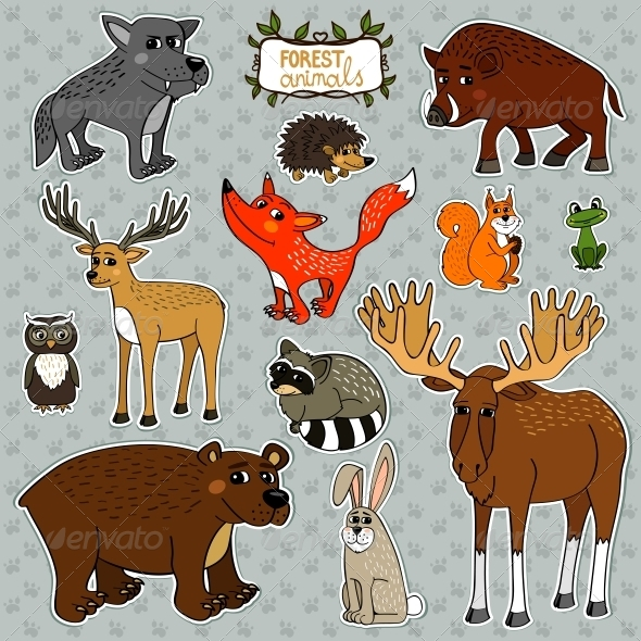GraphicRiver Vector Animals Owl Deer Fox 6133543