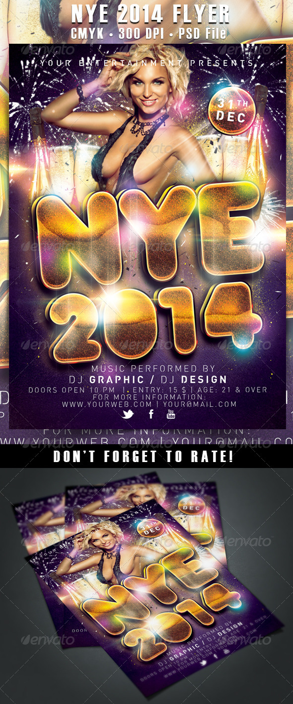 NYE / New Year's Eve 2014 Flyer - Clubs & Parties Events