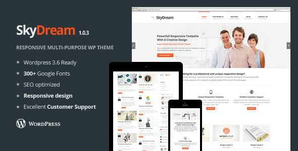 SkyDream Responsive Multi-Purpose WordPress Theme
