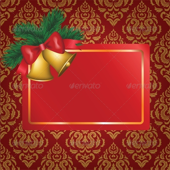 GraphicRiver Christmas Card with Gold Bells and Tree Branch 6134837