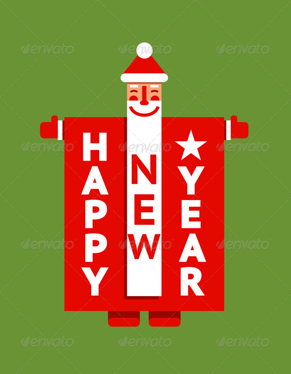 GraphicRiver Santa Happy New Year Sign 6134850