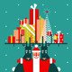 Santa with Reindeer and Gifts - GraphicRiver Item for Sale