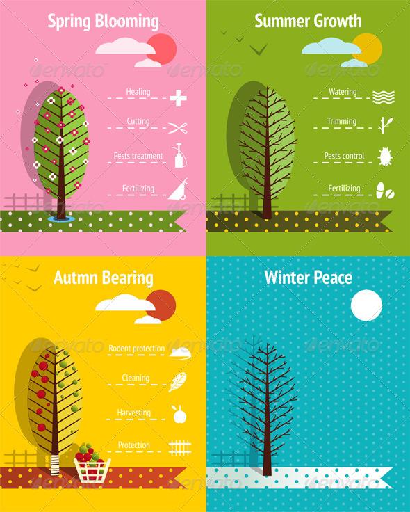 GraphicRiver Apple Garden Seasons Infographics Elements 6134867