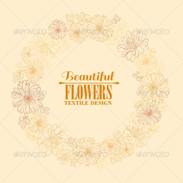 GraphicRiver Wreath of Chrystant Flowers 6134950