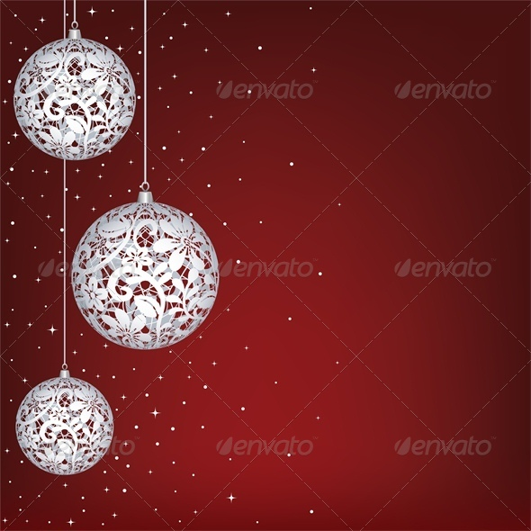 GraphicRiver Christmas Card with White Lace Baubles 6134952