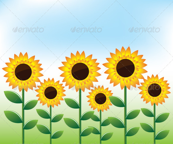GraphicRiver Sunflowers Landscape Background 6135304