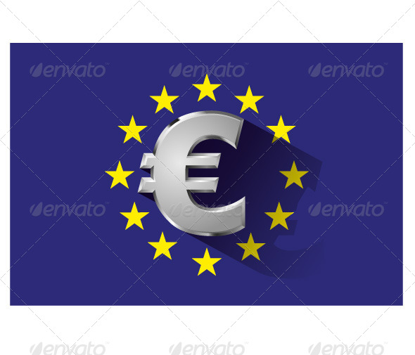 GraphicRiver Silver Euro Symbol on Euro Flag 6135333