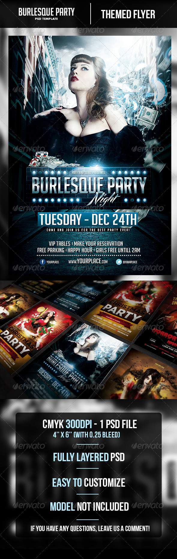 Burlesque Party Flyer Template - Clubs & Parties Events