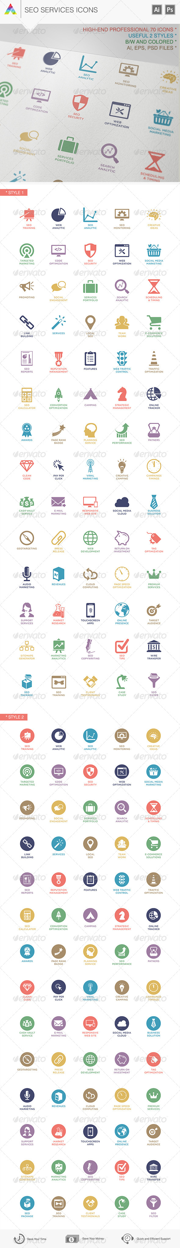 GraphicRiver SEO Services Icons 6137462