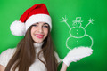 Happy Santa girl with Snowman drawing - PhotoDune Item for Sale