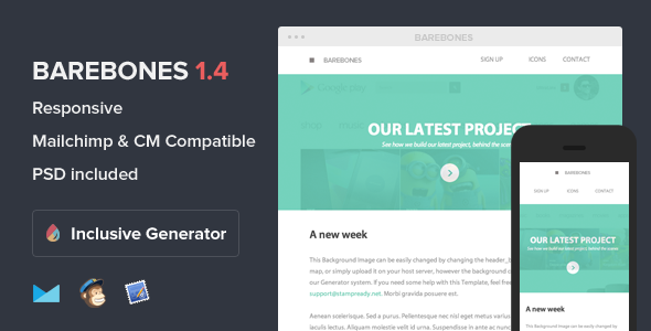 Barebones - Responsive Email With Template Builder - Email Templates Marketing