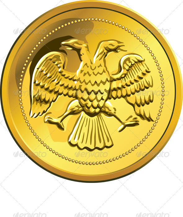 Vector gold coin, ruble money Rossian - Man-made objects Objects