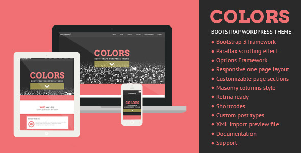 ThemeForest Colors Bootstrap WordPress Theme 6060599
