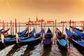 Venice, Italy. Gondolas on Grand Canal at sunset - PhotoDune Item for Sale