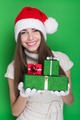 Excited teenage girl holding Christmas presents - PhotoDune Item for Sale