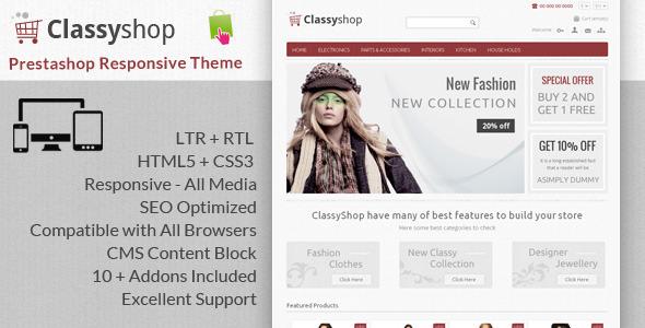 ThemeForest ClassyShop Prestashop Responsive Theme 6139733