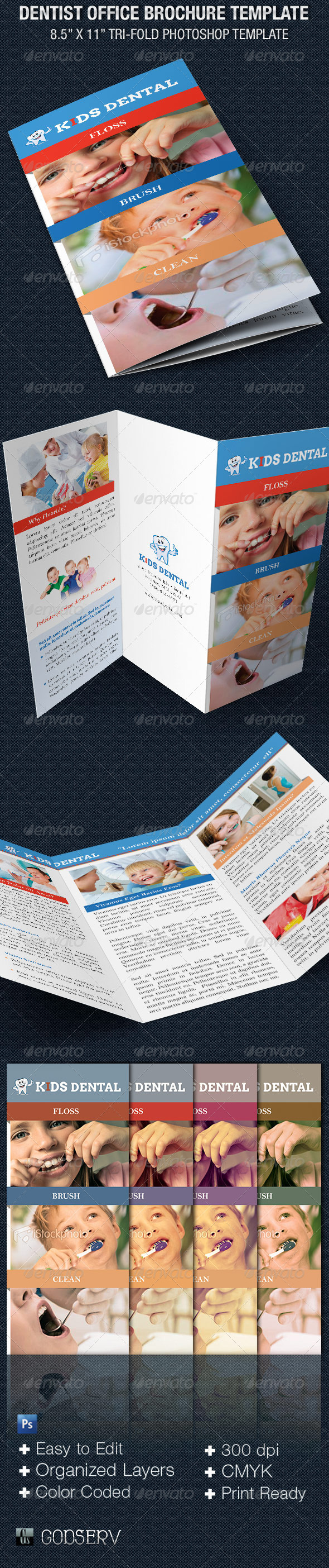 Dentist Office Tri-Fold Brochure Template - Corporate Brochures
