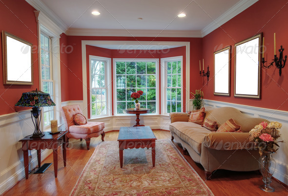 PhotoDune Living Room Interior With Bay Window 663541