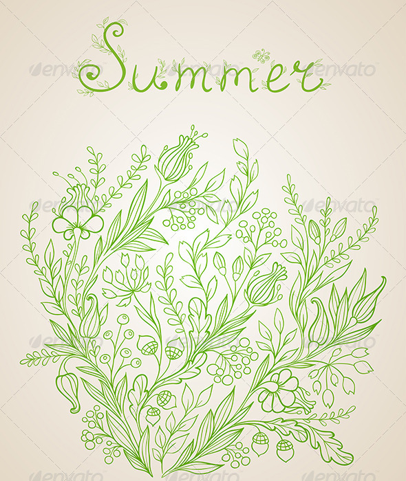 GraphicRiver Green Floral Background 6142067