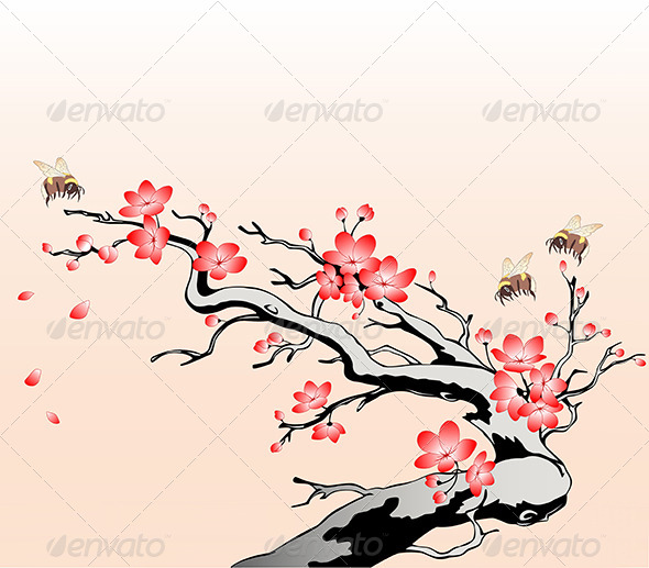GraphicRiver Flowering Cherry Branch 6142269