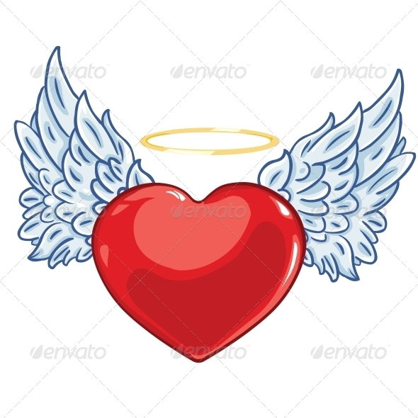 GraphicRiver Heart with Angel Wings and a Halo 6143380