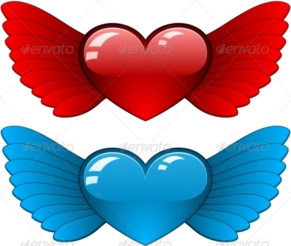 GraphicRiver Hearts with Wings 6146767