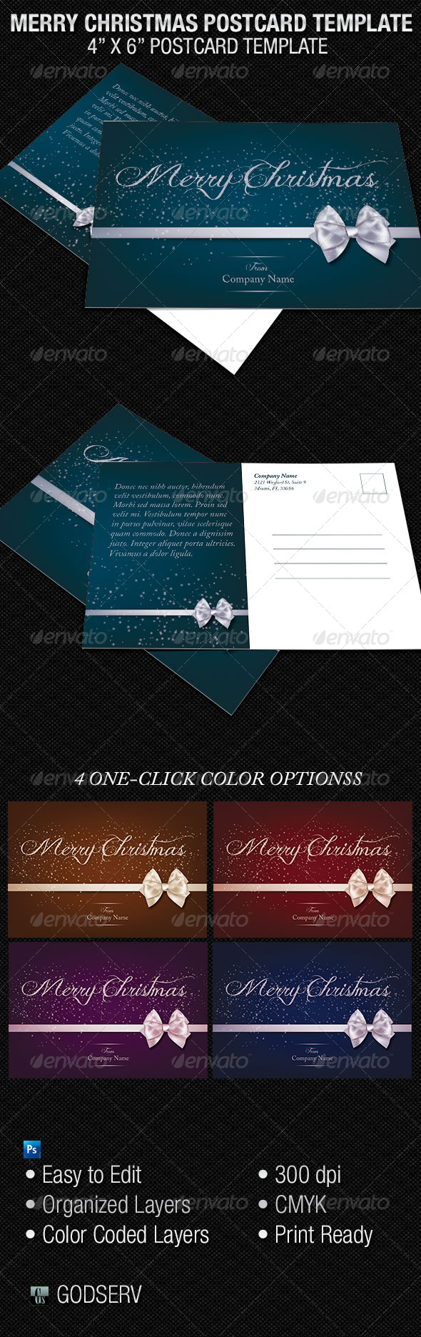 GraphicRiver Merry Christmas Postcard Template 6146827