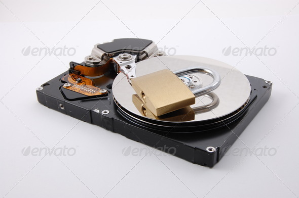 secure computer hard disk drive - Stock Photo - Images