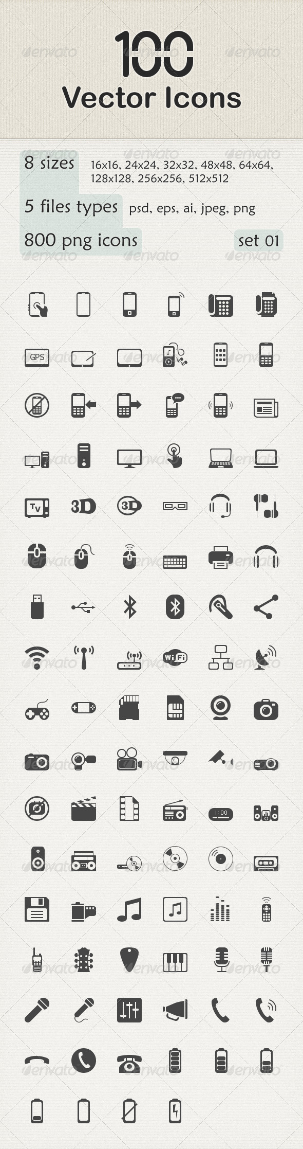 GraphicRiver 100 Vector Icons 6149150