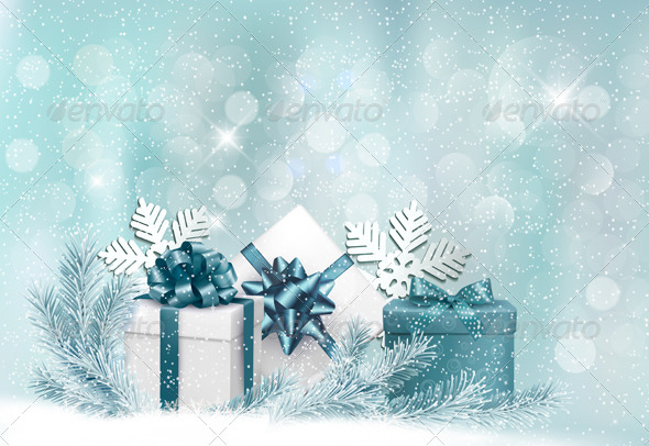 GraphicRiver Holiday Background with Gift Ribbon with Gift Box 6150621