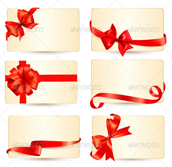 GraphicRiver Set of Gift Cards with Red Gift Bows 6151060