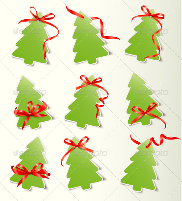 GraphicRiver Set of Cards with Red Gift Bows with Ribbon 6151102