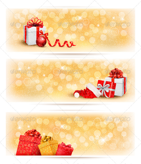 GraphicRiver Set of Holiday Christmas Banners with Gift Boxes 6151109